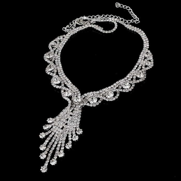 Fancy Tassel Diamond Crystal Necklace Set