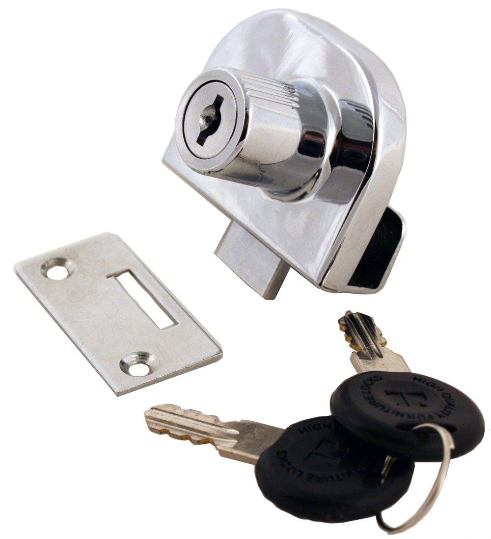 FJM Security MEI-0248-KA Double Glass Door Lock with Chrome Finish, Keyed Alike