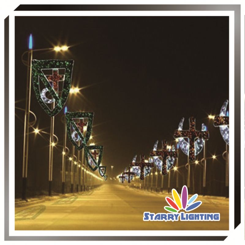 Christmas decorations light poles street lighting