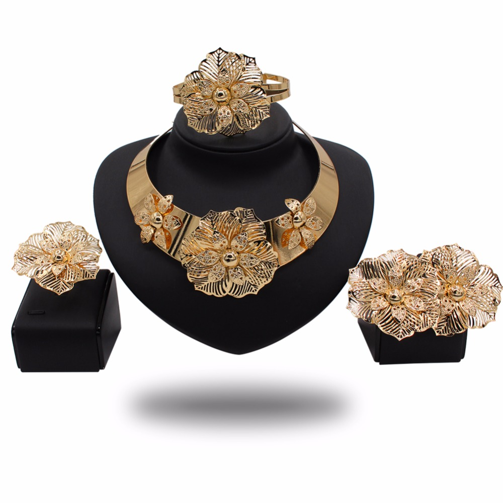 Gold plated figure flower jewelry sets 2017 african jewellery sets fancy necklace sets for wedding TD31Y57