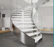 Commercial projects indoor aluminum U base beams curved stairs public use U shape glass staircase