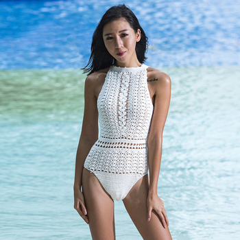 Wholesale Sexy Hollow Out See Through High Waist Swimwear Crochet Swimwear
