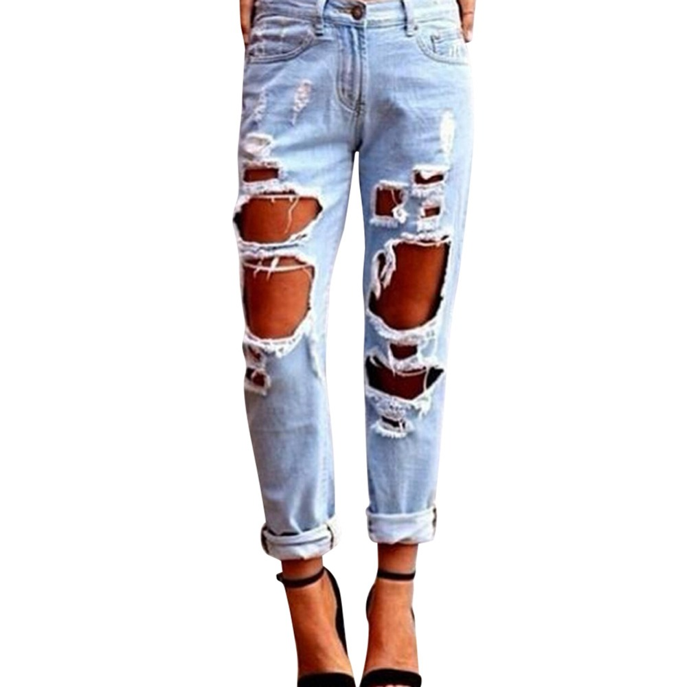 women 39 s sexy destroyed ripped distressed denim harem pants. Black Bedroom Furniture Sets. Home Design Ideas