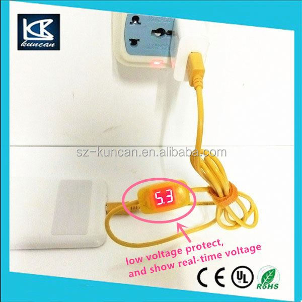 9-36V to 5V 2.1A USB A Male to Micro USB Phone Charger with LCD screen to show real-time voltage and current