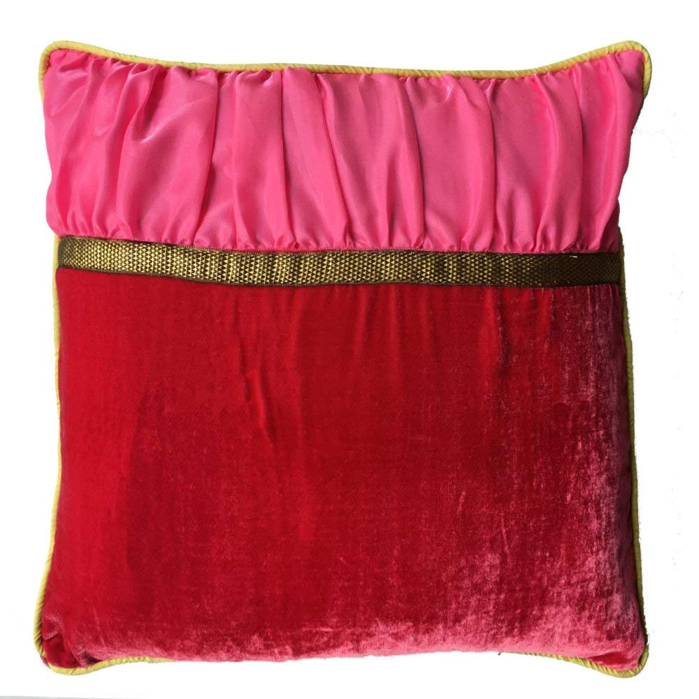 Decorative Square Luxuries Velvet Silk Piping Pillow cover with Red Velvet Pink Dupioni & Yellow Piping pillow cover
