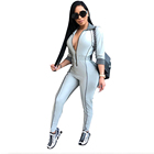 Autumn Winter Tight Long Sleeve Pants Deep V Neck Half Zipper Sexy Rompers Womens Jumpsuit