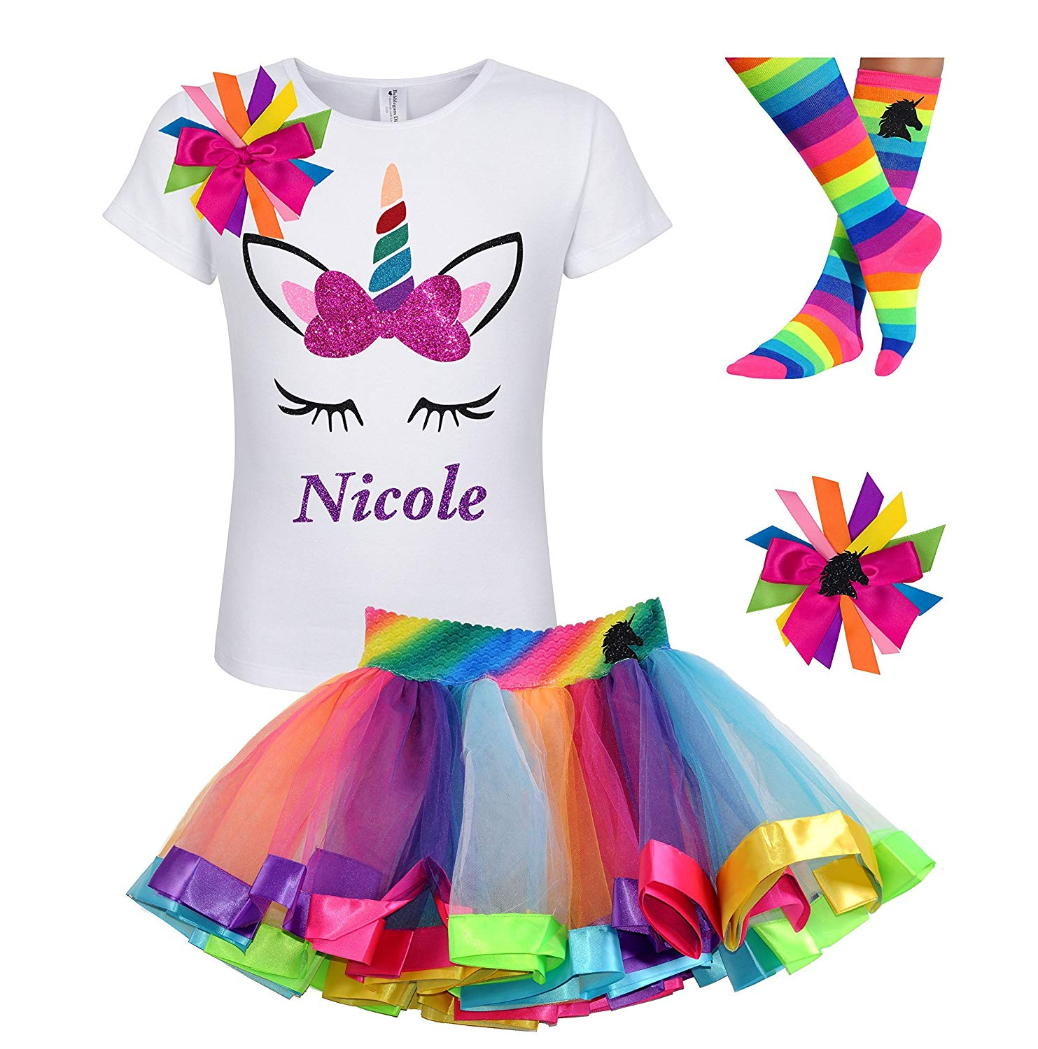 01caa4834ac0 Get Quotations · Rainbow Unicorn Shirt Stripe Tutu Outfit Girls Birthday  4PC Gift Set Personalized Name