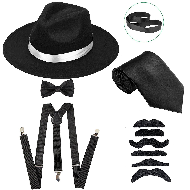 Get Quotations · ZeroShop Men s Roaring 1920s Set Manhattan Fedora Hat 89da133d36f9
