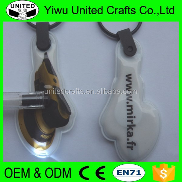 Promotion customized hang pvc reflection keychain for walking safty
