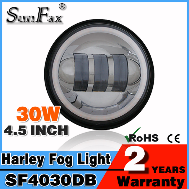 New arrival Harley motorcycle led headlight IP67 30w 4.5inch jeep wranger headlight led, led fog light 30w with halo ring
