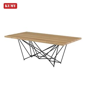 Latest heavy duty 12 seater rectangle wooden metal frame wood MDF dining table designs mesa de comedor table de salle a manger