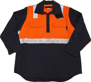 Flame Resistant Cotton Contrasted Reflective Work Shirt Safety Workwear Uniforms