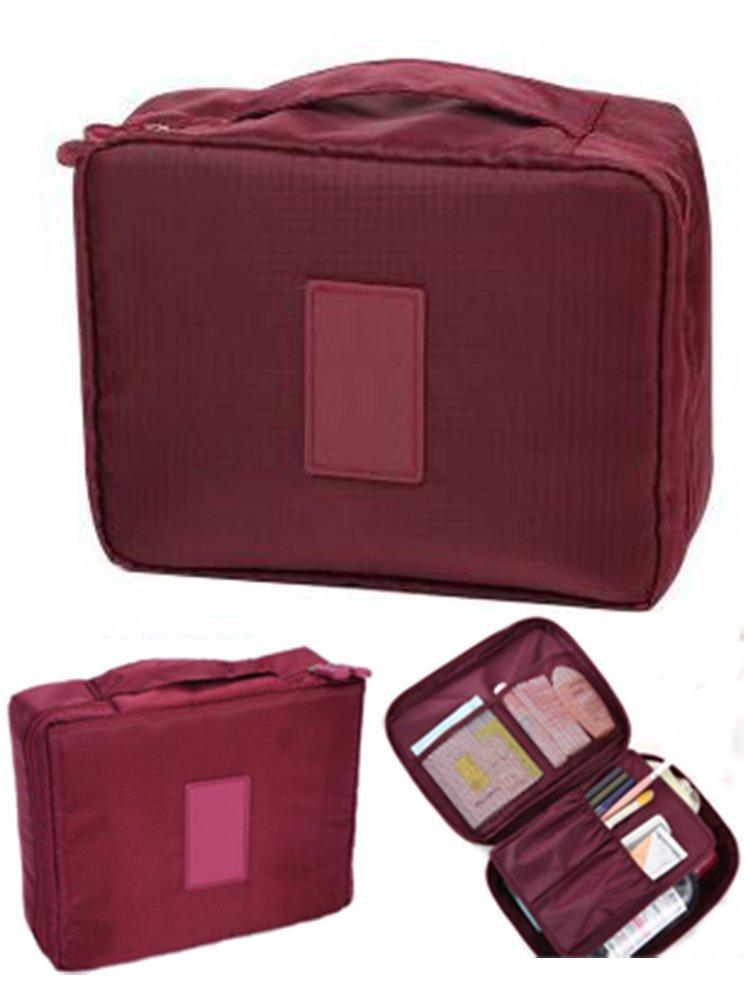 CINEEN Travel Handbag Multifunctional Cosmetics Wash Waterproof Bag Wine Red