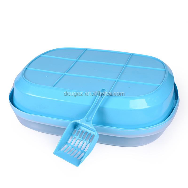 Factory supplier low price cat and dog luxury toilet plastic,cat litter tray with scoop