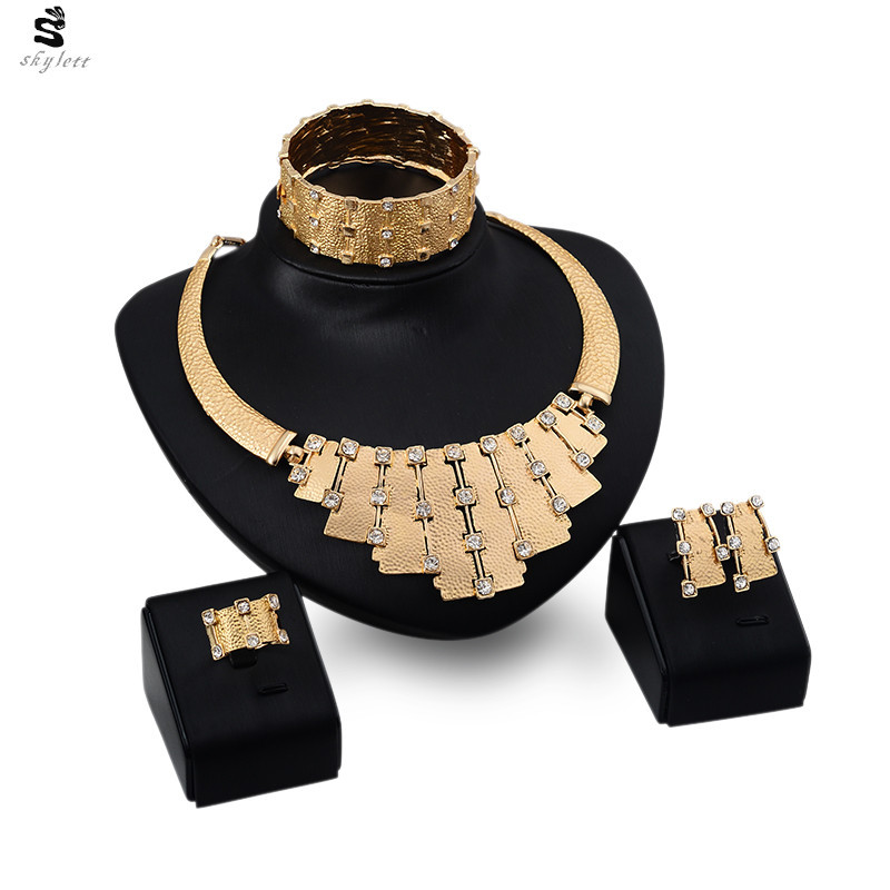 Get Quotations · Women Bridal Joyeria Nigerian African Wedding Beads Necklace  Earrings Bracelet Rings Indian Austrian Crystal Fine Jewelry f7a4fd6f32cd