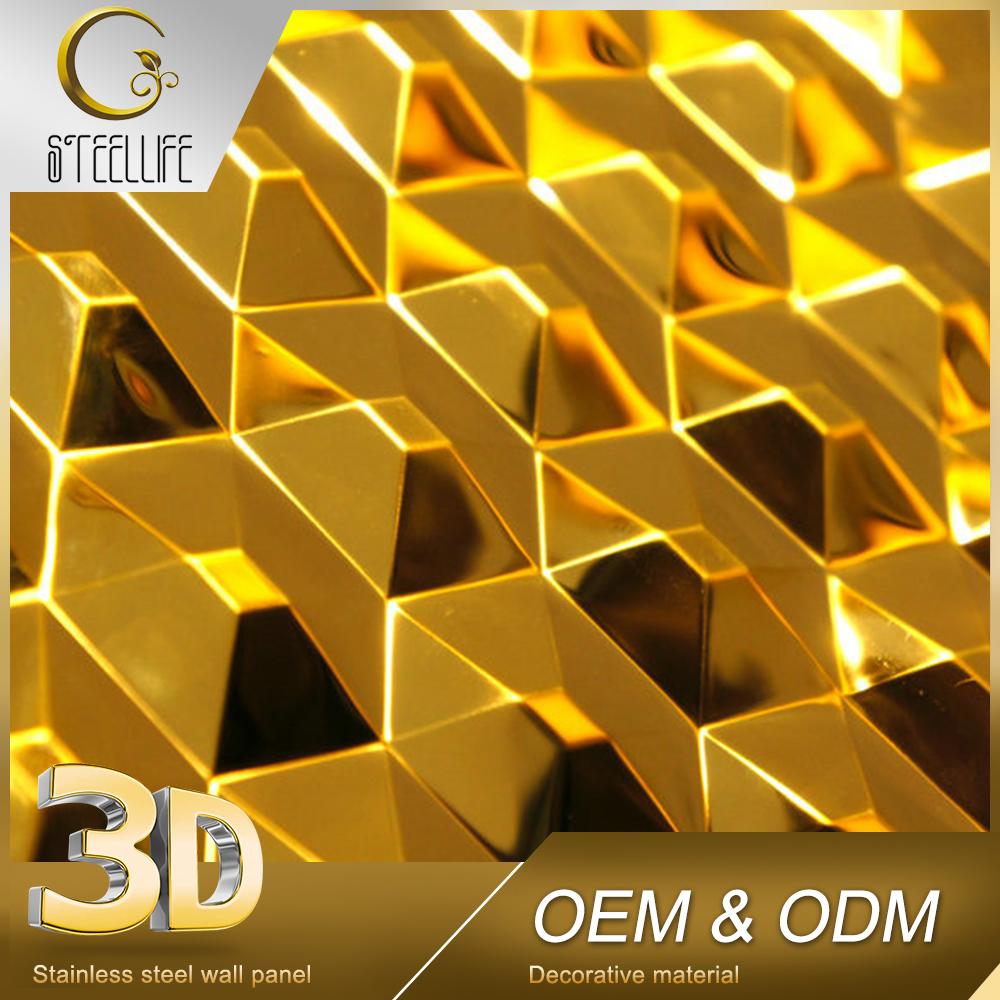 Indian Modern Hotel Lobby Wash Basin Golden 3d Metal Wall Art Decor ...