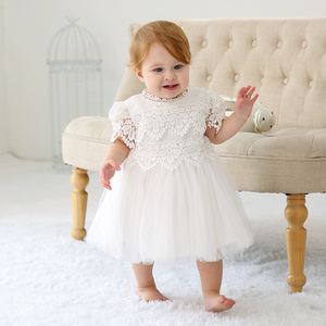 b50fa197e4173 Wholesale Baby Girl Baptism Dress Princess Wedding Party White Lace  Embroidered Dresses Baby Christening Gowns
