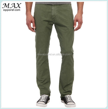 Men Washed Olive Soft & Comfortable Cotton Twill Chino Pants Mens ...