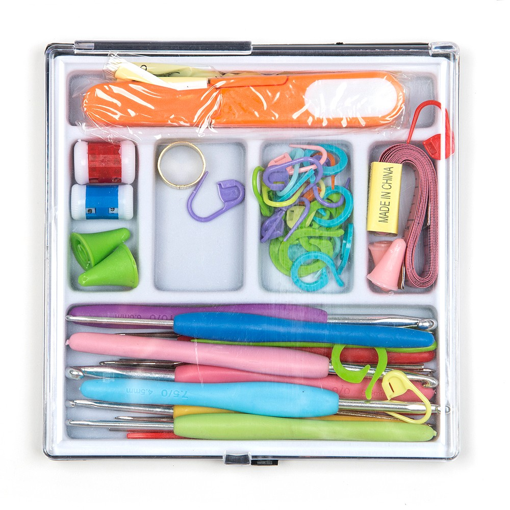Deluxe Soft Handle Crochet Hook Set with Plastic Box ,62pcs Knitting Needles Kit