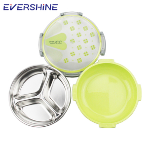 Top fashion trendy style round metal electric bento stainless steel lunch box