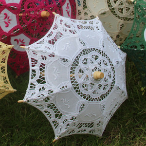 Mini Vintage Wood Embroidery Pure Cotton Lace Umbrella Wedding Umbrella So Small for Wedding Gift Photo Props Kids Gift