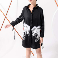 monroo The new personality fashion double-horse pattern beads-pinning system with drawstring dress