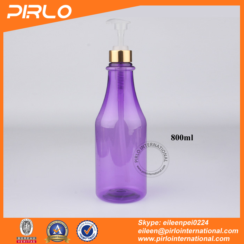 800ml 0.8L Purple plastic pump spray bottle for shampoo shower gel body lotion large volume cosmetic refillable spray bottle