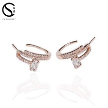 2017New design small gold cc earrings for girls