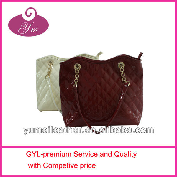2014 red or white soft PU quilted chain handle handbag