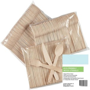 Biodegradable Compostable Birchwood 100 forks 50 spoons 50 knives 200 pcs disposable cutlery
