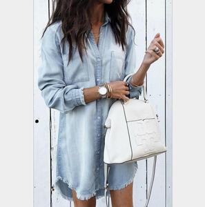 Fashion Women Long Sleeve Loose Denim Shirts Dress Summer Casual Female Mini Dress Ladies Turn-down Collar Shirt Short Dresses