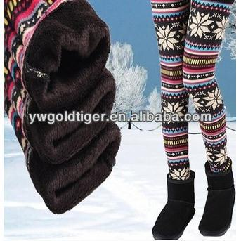 Wholesale Colored Jeggings Nodic Snowflake Brushed Fleece Lined Winter Thick Warm Knitted Women Leggings