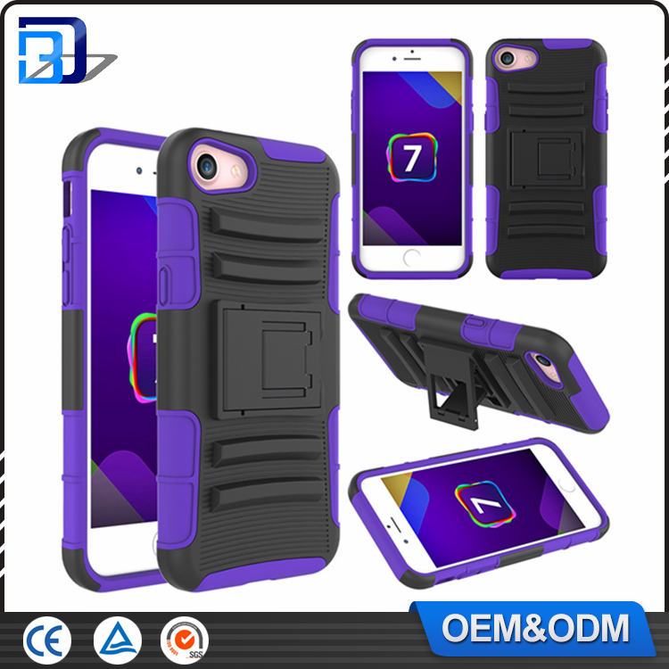 3 in 1 Silicone + PC Hybrid Kickstand Armor Outdoor Cell Phone Case For iPhone 7 Back Cover With Belt Clip