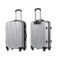 White And Silver Vintage Style Hand Carry On Luggage Travel Hard Shell Trolley Bags Cases Suitcases