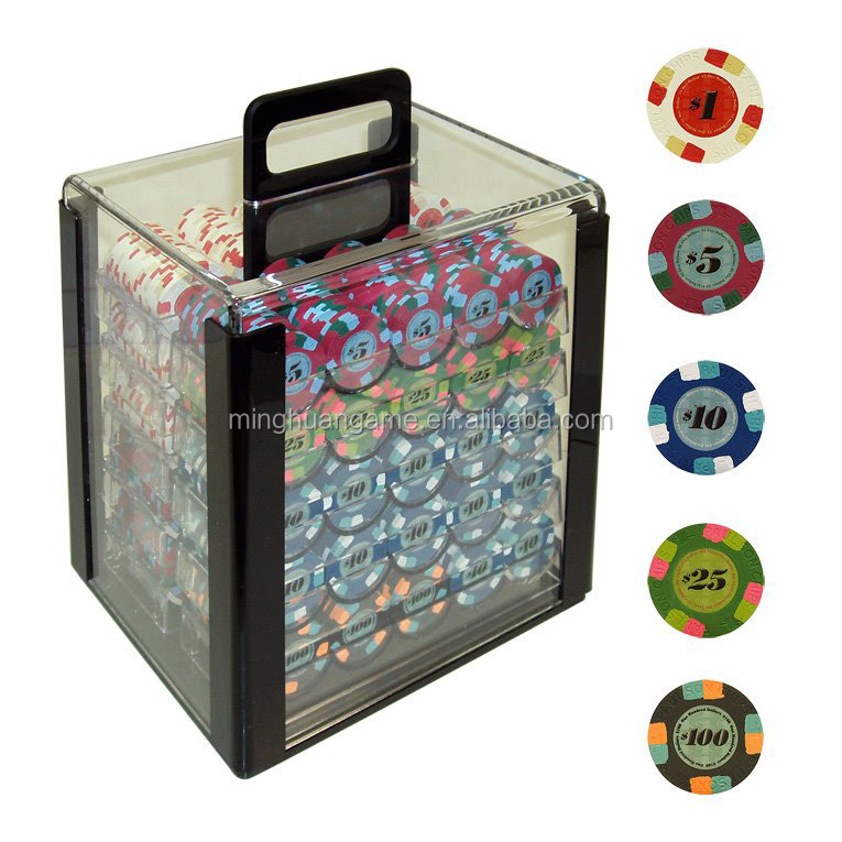1000 stks acryl poker chip case