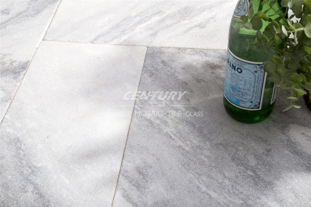 cloudy grey tumbled and sandblasted marble flooring tile