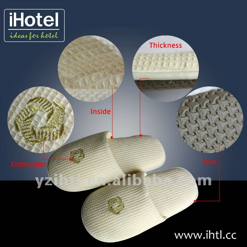 professional cotton waffle hotel slippers