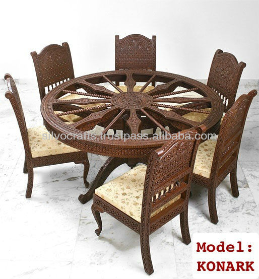 Indian Teak Wood Hand Carved Dining Room Set Restaurant Furniture Classy Restaurant Dining Room Chairs