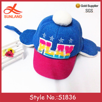 S1836 fashion letters applique pattern warm kids baseball caps with ear flaps pom pom hats for sale