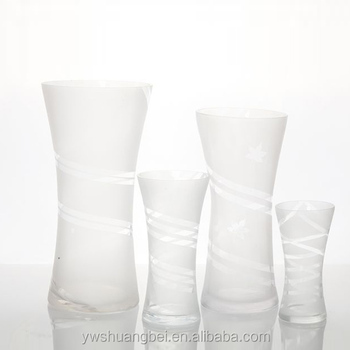 Handmade White Frosted Glass Vase Flower Shaped Glass Vase Wholesale
