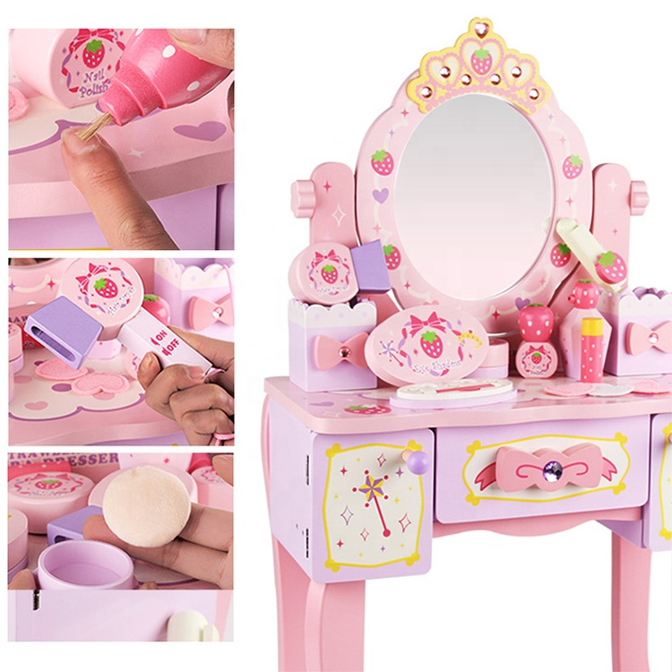 Pretend Play Toy Education Kids Girl Makeup Gift Set Toy Wooden Pink Baby Dressing Table Toy Set