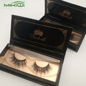 Create Your Own Brand Mink Fur Eye Lashes Double Layer Lashes Black Beauty Mink Lashes With Custom Logo