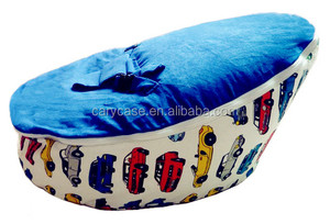 Car Printed with different color tops baby bean bag chair, kids toddlers seat, infant feeding beanbags