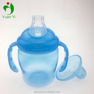 food grade soft silicone/PP baby training sippy cup with handles