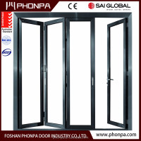 Energy saving sliding glass door insulated glass star hotle balcony bi fold door