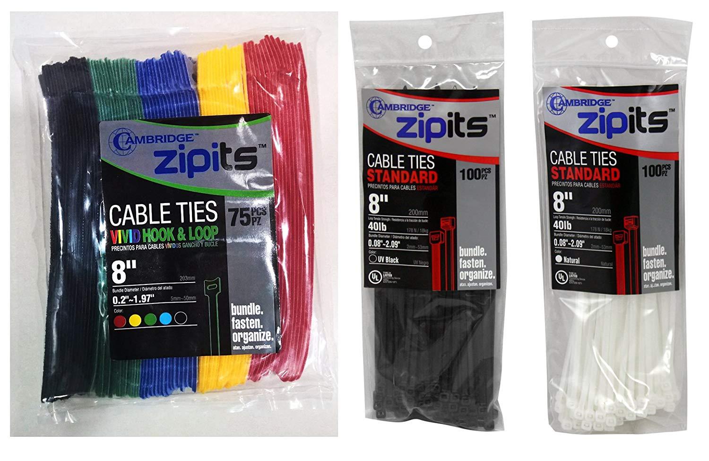 Black 75 pcs 50 pcs 6 Inch Length BONUS 200 Pcs 8 Inch Cable Ties Cambridge Resources Cambridge ZipIts Multi-Purpose Reusable Hook /& Loop Fastening Cable Ties 1//2 Inch Width 25 pcs 8 Inch Length