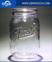 custom clear logo embossed glass canning mason jar wholesale