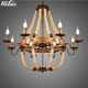 antique indoor art modern chandeliers for homes decorative ceiling lighting round wrought glass hemp rope pendant light