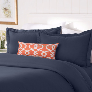 Navy Blue Hypoallergenic Anti-bacterial and Resistant to Dust Mites Egyptian Cotton Duvet Cover Set