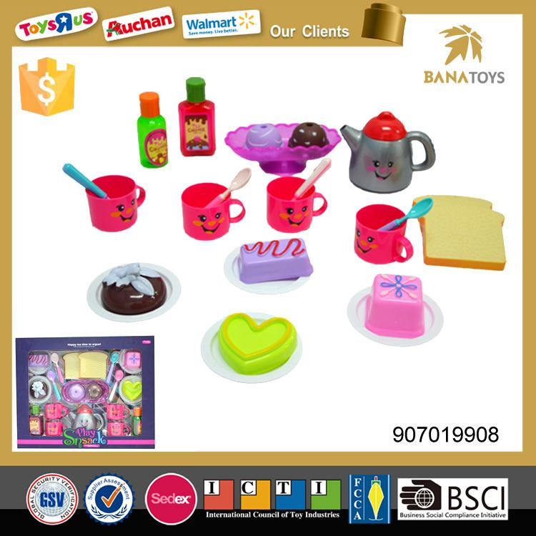 kitchen set toy mini plastic teapot and cups with food